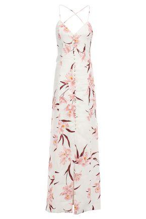ZIMMERMANN Lace-up linen maxi slip dress
