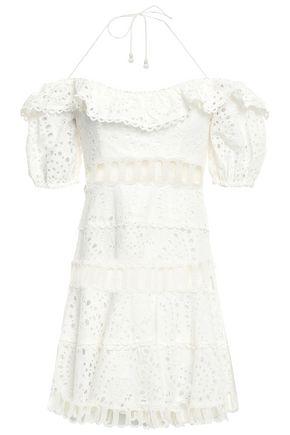 ZIMMERMANN Broderie anglaise cotton mini halterneck dress