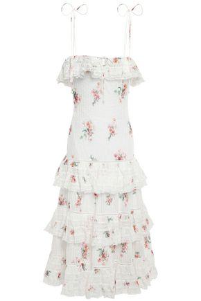 ZIMMERMANN فستان متوسط الطول بطبقات من القطن الرقيق المطبع بالورود