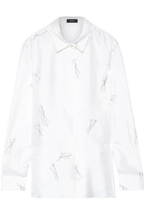 THEORY Printed silk-twill shirt