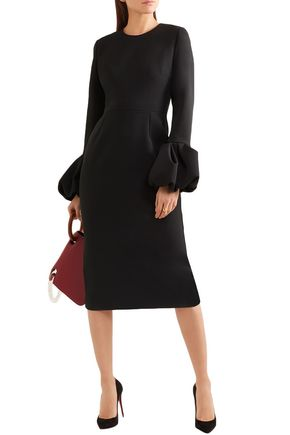 Roksanda Dresses ROKSANDA WOMAN SATIN-TRIMMED CREPE DRESS BLACK