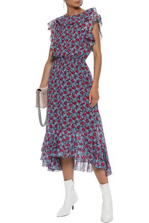 ROBERT RODRIGUEZ Ruffle-trimmed cotton and silk-blend georgette midi dress
