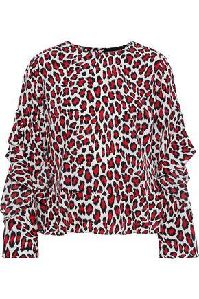 ROBERT RODRIGUEZ Lena ruffled leopard-print crepe de chine top