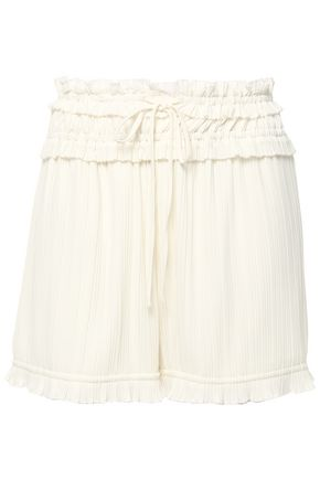 3.1 PHILLIP LIM Pleated shirred stretch-crepe shorts