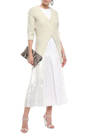 3.1 PHILLIP LIM Paneled cable-knit, satin and poplin maxi dress