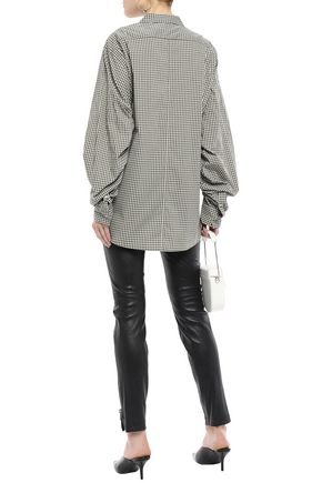 3.1 PHILLIP LIM Ruched gingham cotton-blend poplin shirt