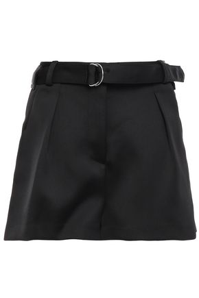 3.1 PHILLIP LIM Belted pleated satin-crepe shorts