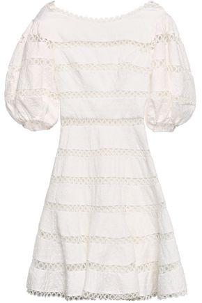 ZIMMERMANN Swiss-dot and crocheted linen and cotton-blend mini dress
