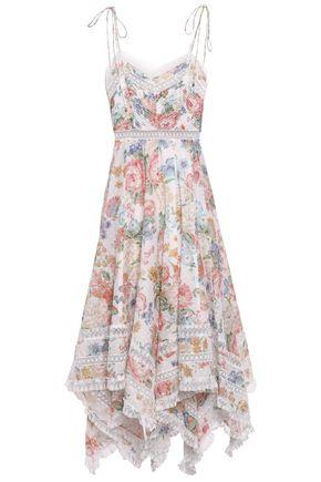 ZIMMERMANN Asymmetric floral-print Swiss-dot cotton dress