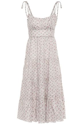 ZIMMERMANN Heathers tiered floral-print linen midi dress