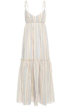 ZIMMERMANN Metallic-trimmed striped gauze maxi dress