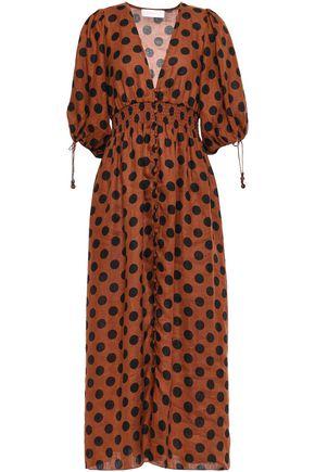 ZIMMERMANN فستان متوسط الطول من الكتان مزين بنقط بولكا ومضموم بالدرزات الظاهرة