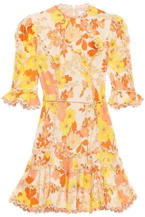 ZIMMERMANN Fluted floral-print linen and cotton-blend mini dress