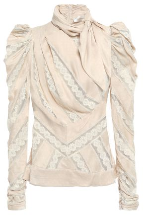 ZIMMERMANN Draped embroidered tulle-trimmed polka-dot satin blouse