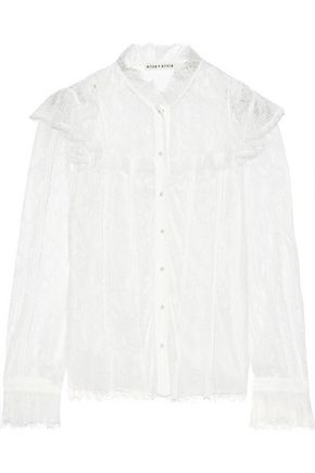ALICE + OLIVIA Malinda ruffled-trimmed Chantilly lace blouse
