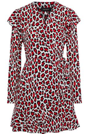 ROBERT RODRIGUEZ Lena wrap-effect leopard-print crepe de chine mini dress
