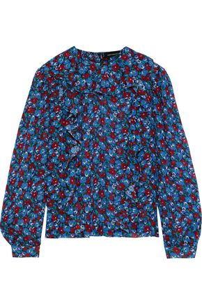 ROBERT RODRIGUEZ Floral-print cotton and silk-blend georgette blouse