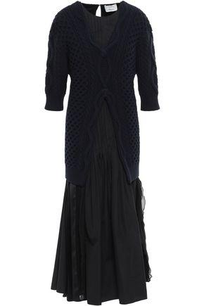 3.1 PHILLIP LIM Paneled cable-knit, satin and poplin maxi dress