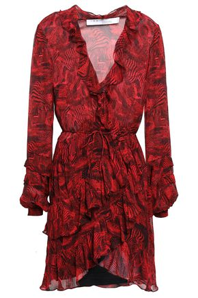 IRO Ruffled georgette mini wrap dress
