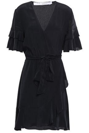IRO Ruffled crepe de chine mini wrap dress