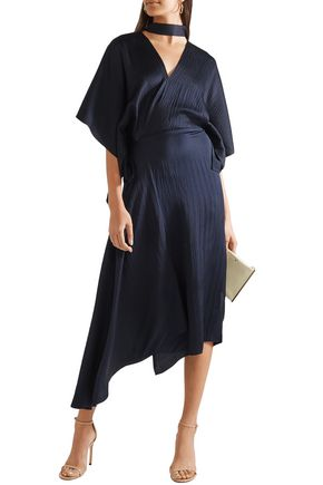Roland Mouret Dresses ROLAND MOURET WOMAN MEYERS WRAP-EFFECT ASYMMETRIC HAMMERED SILK-SATIN MIDI DRESS NAVY