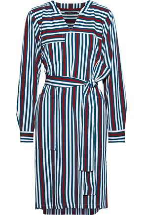 DEREK LAM Belted striped twill shirt dress