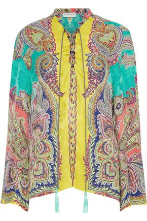ETRO Lace-up printed floral-jacquard blouse