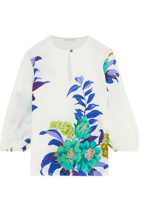ETRO Floral-print washed-silk blouse