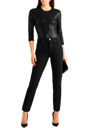 Michael Kors Knits MICHAEL KORS COLLECTION WOMAN SEQUINED KNITTED THONG BODYSUIT BLACK