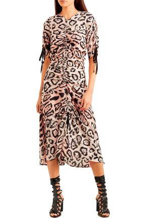 ALICE McCALL Animale ruched leopard-print silk crepe de chine midi dress