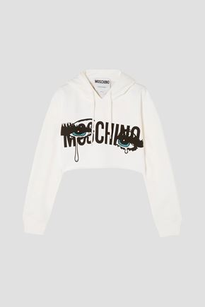 MOSCHINO Cropped printed French cotton-jersey hoodie
