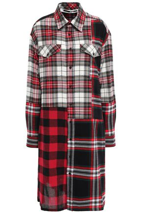 McQ Alexander McQueen Patchwork-effect checked cotton and wool-blend shirt dress