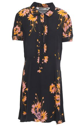 McQ Alexander McQueen Pintucked crepe de chine dress