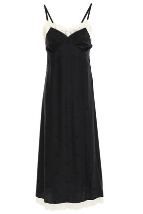 McQ Alexander McQueen Pintucked lace-trimmed silk-satin jacquard slip dress