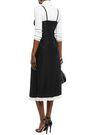 McQ Alexander McQueen Pintucked lace-trimmed silk-satin jacquard slip dress