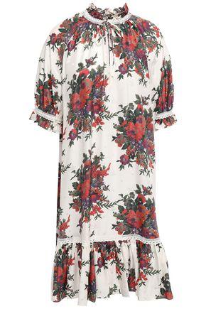 McQ Alexander McQueen Crochet-trimmed silk-satin jacquard dress