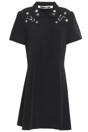 McQ Alexander McQueen Embellished satin-crepe mini dress
