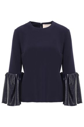 ROKSANDA Faux patent leather-trimmed crepe top