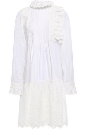 McQ Alexander McQueen Broderie anglaise-paneled cotton-poplin shirt dress