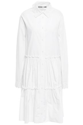 McQ Alexander McQueen Broderie anglaise-trimmed cotton-poplin shirt dress