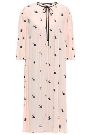 McQ Alexander McQueen Pintucked crepe de chine dress