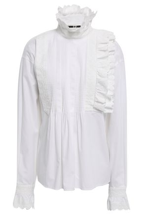 McQ Alexander McQueen Broderie anglaise-trimmed cotton blouse