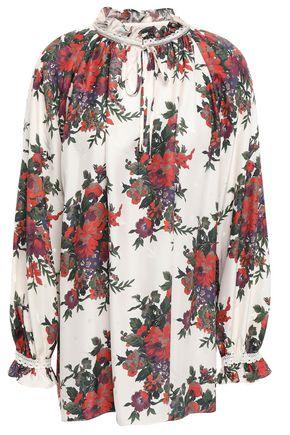 McQ Alexander McQueen Crochet-trimmed silk-satin jacquard blouse