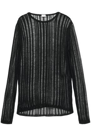 SAINT LAURENT Open-knit linen and silk-blend top