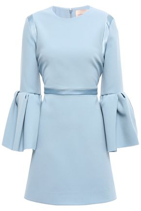 ROKSANDA Fluted satin-trimmed crepe mini dress
