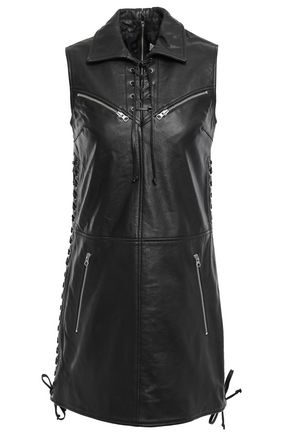 McQ Alexander McQueen Lace-up textured-leather mini dress