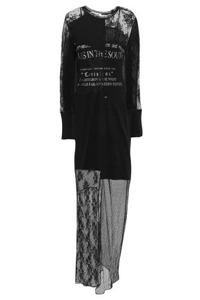McQ Alexander McQueen Patchwork-effect layered printed lace and cotton-jersey maxi dress