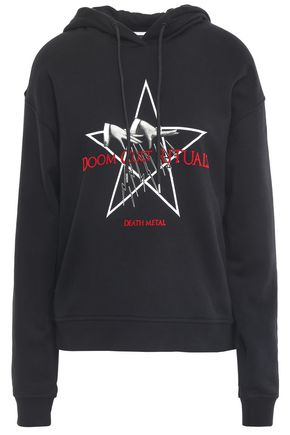 McQ Alexander McQueen Flocked French cotton-terry hoodie