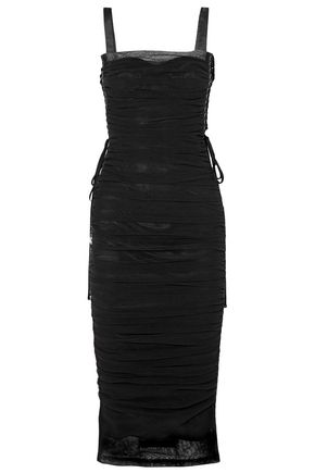 DOLCE & GABBANA Lace-up ruched tulle and silk-satin midi dress