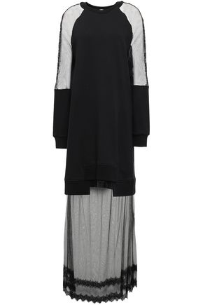 McQ Alexander McQueen Lace-trimmed French cotton-terry and tulle maxi dress